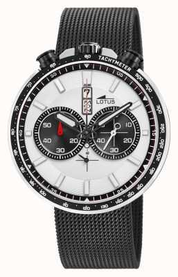 Lotus Черный мужской браслет из стальной сетки | белый / черный циферблат L10139/1