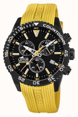 Lotus Желтый силиконовый ремешок для мужчин | черный циферблат хронографа L18672/4