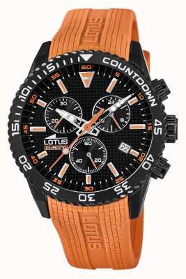 Lotus Мужской силиконовый ремешок оранжевого цвета | черный циферблат хронографа L18672/5