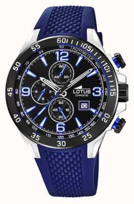 Lotus Мужской силиконовый ремешок синего цвета | черный циферблат хронографа L18673/8