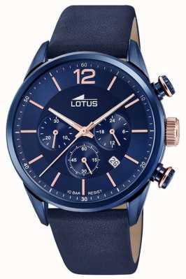 Lotus Мужской кожаный ремешок синий | синий циферблат хронографа L18681/2