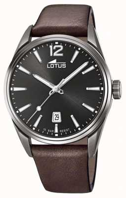 Lotus Мужской кожаный ремешок коричневого цвета | черный циферблат L18685/1