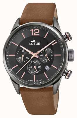 Lotus Мужской кожаный ремешок коричневого цвета | черный циферблат хронографа L18687/2