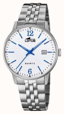 Lotus Мужской браслет из нержавеющей стали | серебряный циферблат | синие стрелки / маркеры L18694/2