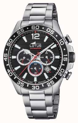 Lotus Мужской браслет из нержавеющей стали | черный циферблат хронографа L18696/4