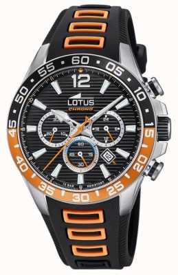 Lotus Мужской силиконовый ремешок черного / оранжевого цвета | черный циферблат хронографа L18697/1