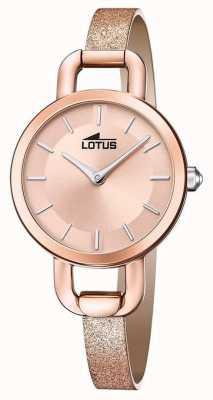 Lotus Женский кожаный ремешок с блестками | циферблат из розового золота L18747/1