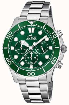 Lotus Мужской браслет из нержавеющей стали | зеленый циферблат хронографа L18756/2