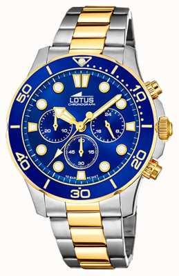 Lotus Двухцветный мужской стальной браслет | синий циферблат хронографа L18757/1