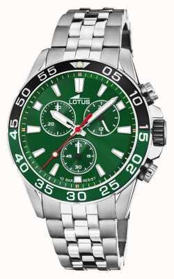 Lotus Мужской браслет из нержавеющей стали | зеленый циферблат | зеленый / черный безель L18765/2