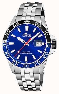 Lotus Мужской браслет из нержавеющей стали | синий циферблат | черный / синий безель L18766/1