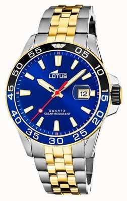 Lotus Двухцветный мужской стальной браслет | синий циферблат L18768/1