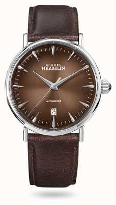 Michel Herbelin Автоматическое вдохновение | мужской кожаный ремешок коричневого цвета | коричневый циферблат 1647/AP27
