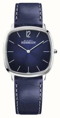 Michel Herbelin Город | мужской кожаный ремешок синий | синий циферблат 16905/15BL