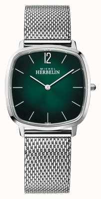Michel Herbelin Город | мужской браслет из стальной сетки | зеленый циферблат 16905/16B