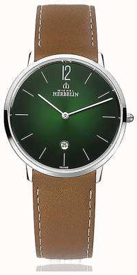 Michel Herbelin Город | мужской кожаный ремешок коричневого цвета | зеленый циферблат 19515/16NGO