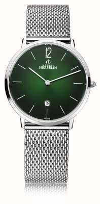 Michel Herbelin Город | мужской браслет из стальной сетки | зеленый циферблат 19515/16NB