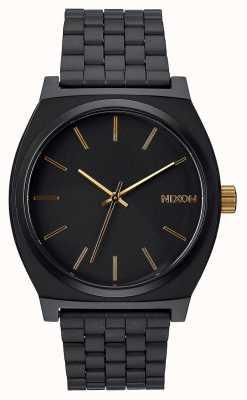 Nixon Счетчик времени   матовый черный / золотой   черный стальной браслет ip   черный циферблат A045-1041-00