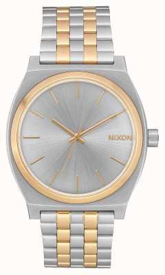 Nixon Счетчик времени | серебро / золото | двухцветный стальной браслет | серебряный циферблат A045-1921-00