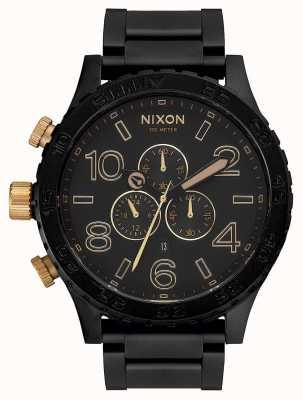 Nixon 51-30 хроно | матовый черный / золотой | черный браслет ip | черный циферблат A083-1041-00