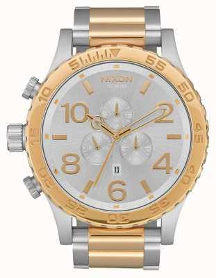 Nixon 51-30 хроно | серебро / золото | двухцветный браслет | серебряный циферблат A083-1921-00