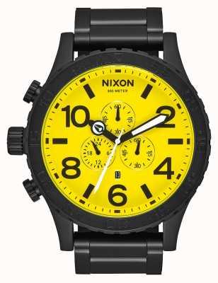 Nixon 51-30 хроно | все черный / желтый | черный стальной браслет ip | желтый циферблат A083-3132-00