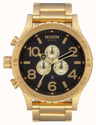 Nixon 51-30 хроно | все золото / черный | золотой браслет ip | черный циферблат A083-510-00