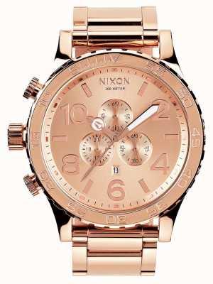 Nixon 51-30 хроно | все розовое золото | браслет из розового золота с IP-адресом | циферблат из розового золота A083-897-00