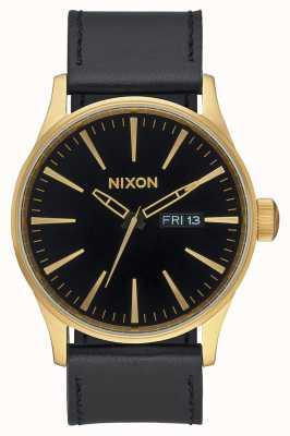 Nixon Часовая кожа | золото / черный | черный кожаный ремешок черный циферблат A105-513-00