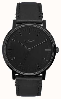 Nixon Кожа портера | все черное | черный кожаный ремешок | черный циферблат A1058-001-00