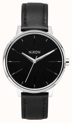 Nixon Кенсингтонская кожа | черный | черный кожаный ремешок | черный циферблат A108-000-00
