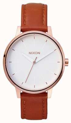 Nixon Кенсингтонская кожа | розовое золото / белый | коричневый кожаный ремешок | белый циферблат A108-1045-00