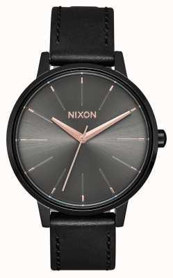 Nixon Кенсингтонская кожа   черный / бронза   черный кожаный ремешок A108-1420-00