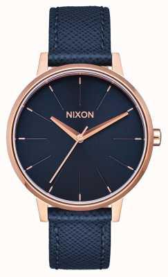 Nixon Кенсингтонская кожа | темно-синий / розовое золото | синий кожаный ремешок | синий циферблат A108-2195-00