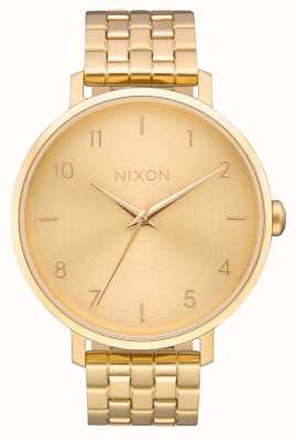 Nixon Стрелка | все золото | золотой браслет из стали ip | золотой циферблат A1090-502-00