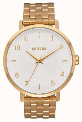 Nixon Стрелка   все золото / белый   золотой браслет из стали ip   белый циферблат A1090-504-00