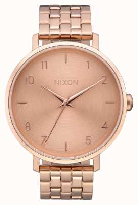 Nixon Стрелка | все розовое золото | браслет из розового золота с IP-покрытием | циферблат из розового золота A1090-897-00