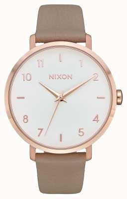 Nixon Кожа стрелы   розовое золото / серый   серый кожаный ремешок   белый циферблат A1091-2239-00