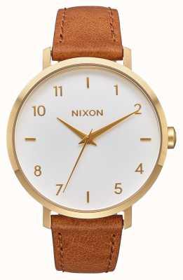 Nixon Кожа стрелы | золото / белый / седло | коричневый кожаный ремешок | белый циферблат A1091-2621-00