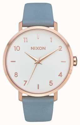 Nixon Кожа стрелы   розовое золото / синий   синий кожаный ремешок   белый циферблат A1091-2704-00