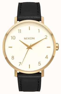 Nixon Кожа стрелы   золото / крем / черный   черный кожаный ремешок   кремовый циферблат A1091-2769-00