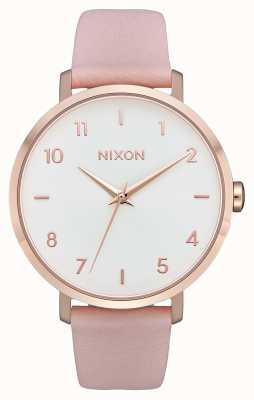 Nixon Кожа стрелы   розовое золото / светло-розовый   розовый кожаный ремешок   белый циферблат A1091-3027-00