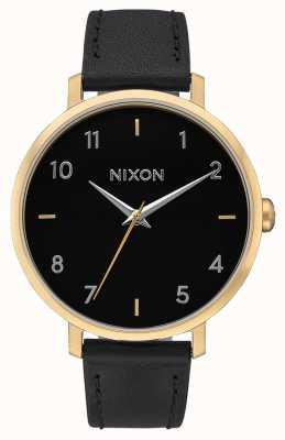 Nixon Кожа стрелы   золото / черный   черный кожаный ремешок   черный циферблат A1091-513-00
