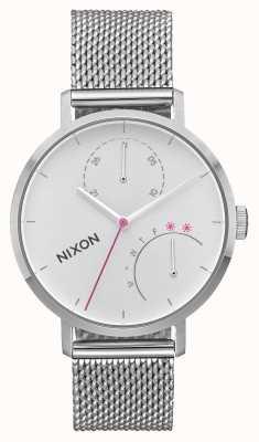 Nixon Сцепление | все серебро | сетка из нержавеющей стали | белый циферблат A1166-1920-00