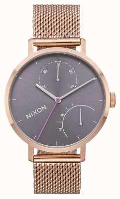 Nixon Сцепление   все розовое золото / серый   стальная сетка из розового золота   серый циферблат A1166-2618-00