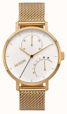 Nixon Сцепление   все золото / белый   золотой браслет из сетки с ip   белый циферблат A1166-504-00
