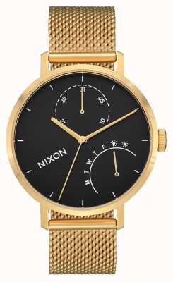 Nixon Сцепление | золото / черный | золото ip стальная сетка | черный циферблат A1166-513-00