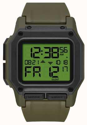 Nixon Регулус | излишки / углерод | цифровой | зеленый ремешок из тпу A1180-3100-00