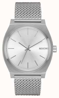 Nixon Счетчик времени миланский | все серебро | сетка из нержавеющей стали | серебряный циферблат A1187-1920-00