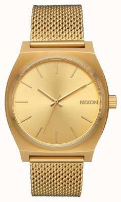 Nixon Счетчик времени миланский | все золото | золото ip стальная сетка | золотой циферблат A1187-502-00